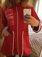 Модная молодёжная кофта с начёсом красная 46-50