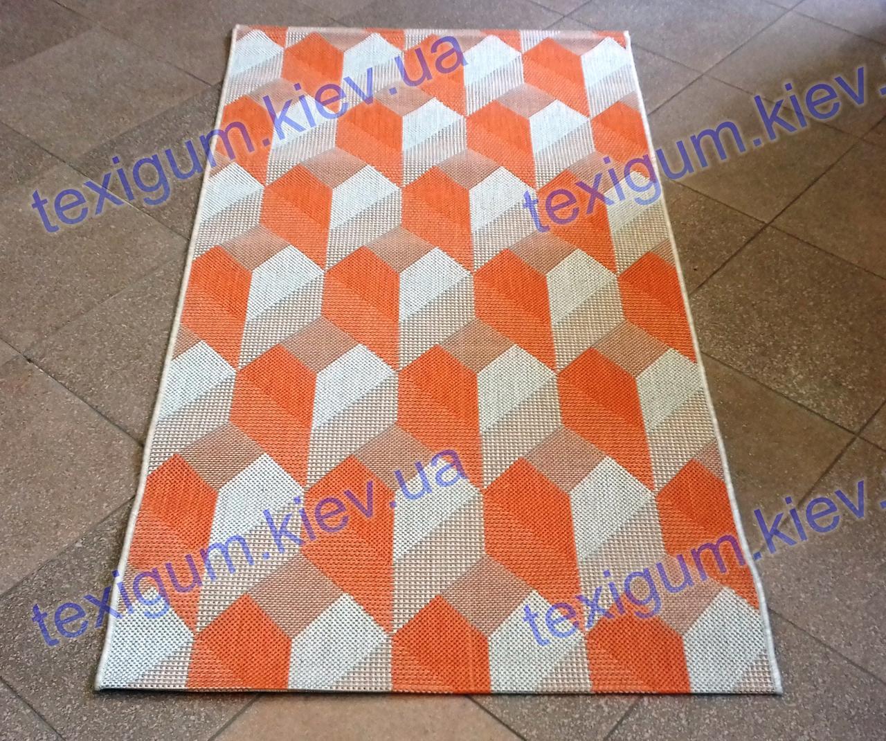 Безворсовый ковер-рогожка Balta Essenza оранжевый 3Д