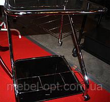 Сервировочный столик SC-5103 BK, стеклянная сервировочная тележка на колесиках, фото 3