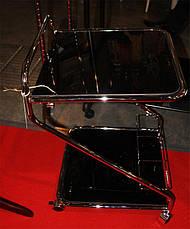 Сервировочный столик SC-5103 BK, стеклянная сервировочная тележка на колесиках, фото 2