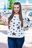 Теплый мягкий свитер со звездой ткань травка с 48-52 размер белый