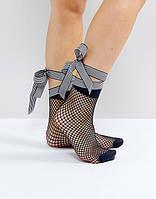 Женские носки сетка черная с длинной лентой бантом шнуровкой