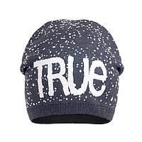 Теплая шапка для девочки True асфальт
