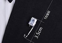 Стильная декоративная булавка с кристаллами и крупным камнем для одежды