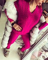 Яркий женский вязанный спортивный костюм