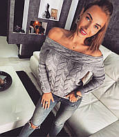 Стильный женский теплый свитер в сером цвете