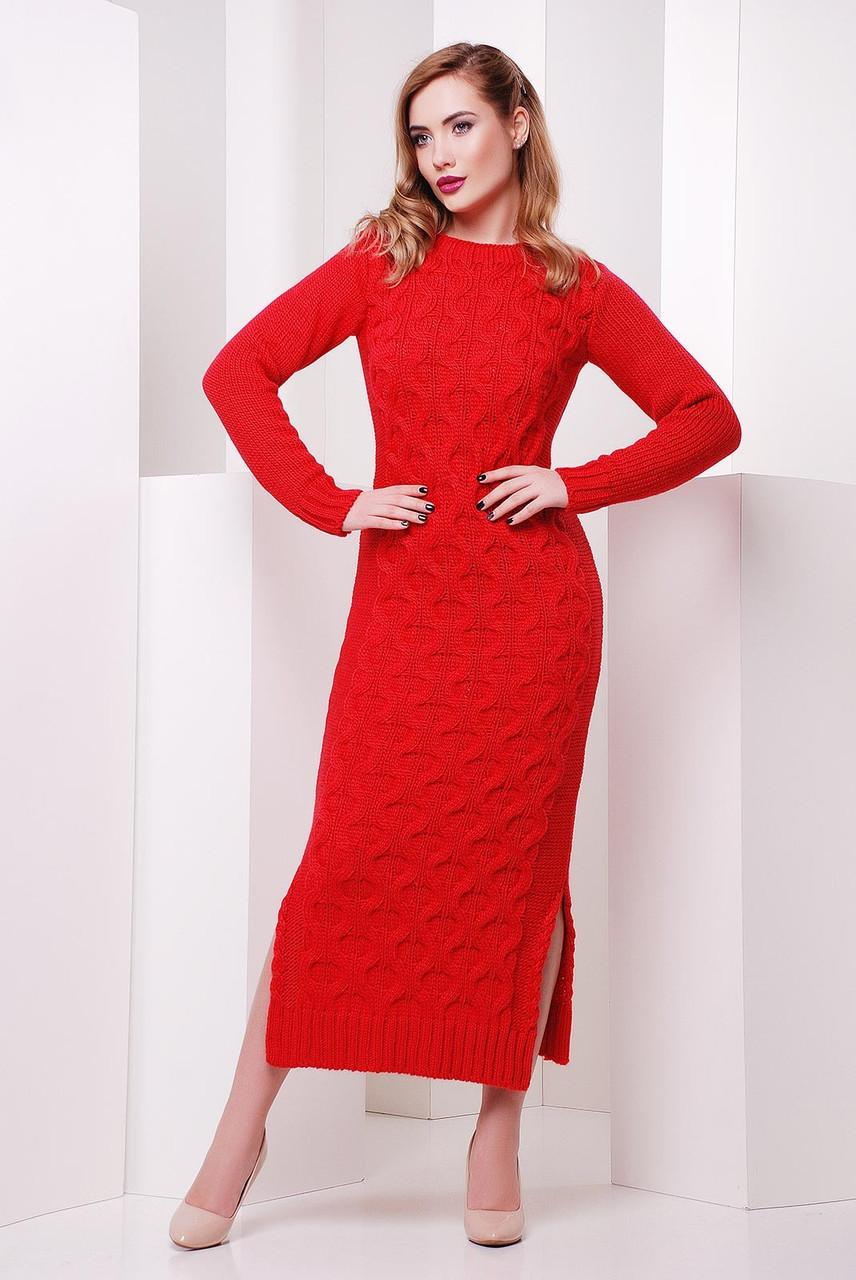5654d451162 Зимнее длинное вязаное платье Соты 42–48р. в расцветках - Интернет–магазин «
