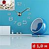 3D-Часы настенные большие с арабскими цифрами типа 2 (диаметр 1 м) серебряные [Пластик]