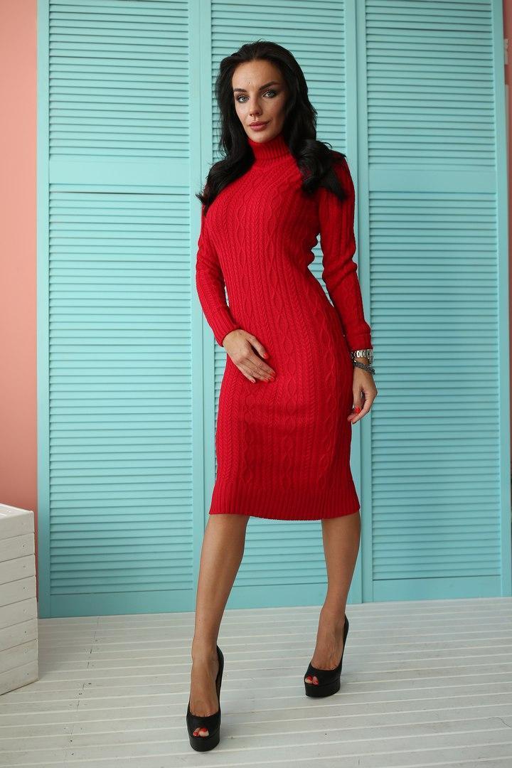 8f885b68760aa33 Ярко красное платье-гольф - Интернет-магазин