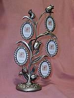 Роза фоторамка декоративная на 7 фотографий - семейное дерево 27 сантиметров высота