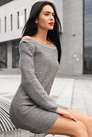 Классное серое платье машинной вязкой