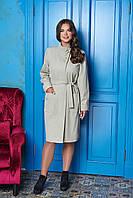 Бежевое длинное женское осеннее пальто из шерсти ил-10001