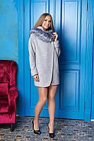 Меланжевое короткое женское осеннее пальто из шерсти с капюшоном ил-10003