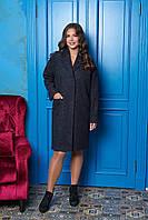 Темно-синее длинное женское осеннее пальто из шерсти ил-10004
