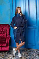 Темно-синее длинное женское демисезонное пальто из плащевки ил-10008