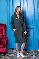 Зеленое длинное женское демисезонное пальто из кашемира ил-10010