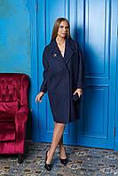 Синее длинное женское демисезонное пальто из кашемира ил-10012