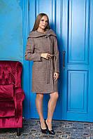 Темно-бежевое женское демисезонное пальто из кашемира с капюшоном ил-10017