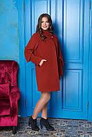 Терракотовое женское зимнее пальто из кашемира на ватине ил-10013