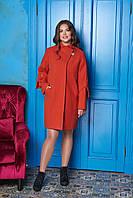 Светлое терракотовое женское зимнее пальто из кашемира на ватине ил-10014