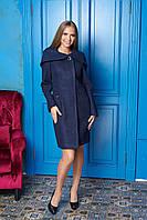 Темно-синее женское демисезонное пальто из кашемира с капюшоном ил-10019