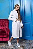 Светло-серое длинное женское демисезонное пальто из шерсти ил-10021