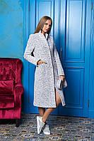 Меланжевое длинное женское демисезонное пальто из шерсти ил-10024
