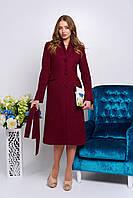 Бордовое длинное женское демисезонное пальто ил-10027