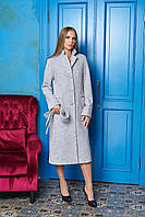 Серое длинное женское демисезонное пальто ил-10023