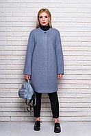 Серое женское демисезонное пальто из мелкого букле ил-10032