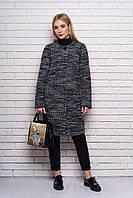Черно-белое женское демисезонное пальто из полу-шерсти ил-10033