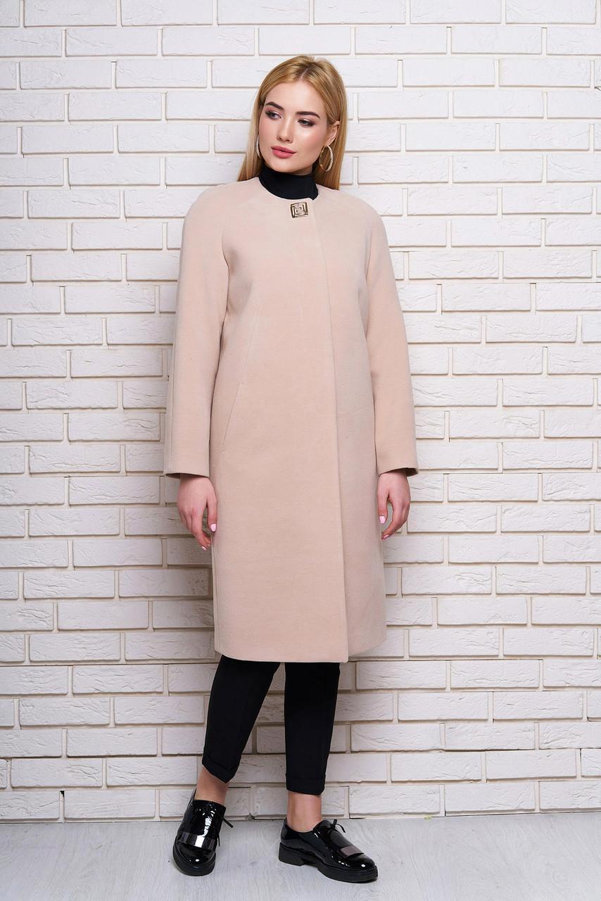 f6c4d1570c2 Бежевое женское демисезонное пальто из кашемира - Интернет-магазин