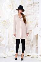 Бежевое короткое женское демисезонное пальто из шерсти елочка ил-10035