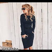 Черное платье с карманами и тонким пояском
