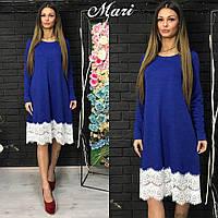 Теплое и стильное платье в насыщенном синем цвете