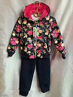 """Спортивный костюм детский теплый для девочки 3-6 лет,""""Розы""""темно синий с розовыми розами"""