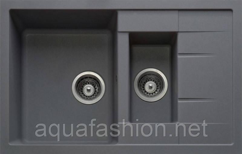 Гранітна мийка двухчашевая сіра 78 см Adamant Anila Plus