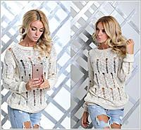 Стильный теплый пуловер женский юр-1018-1
