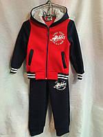 Спортивный костюм детский теплый для мальчика 3-6 лет,алый с черным