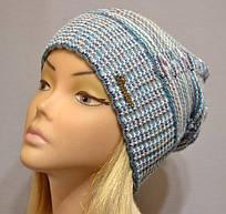Яркая меланжевая вязаная шапочка по супер-цене