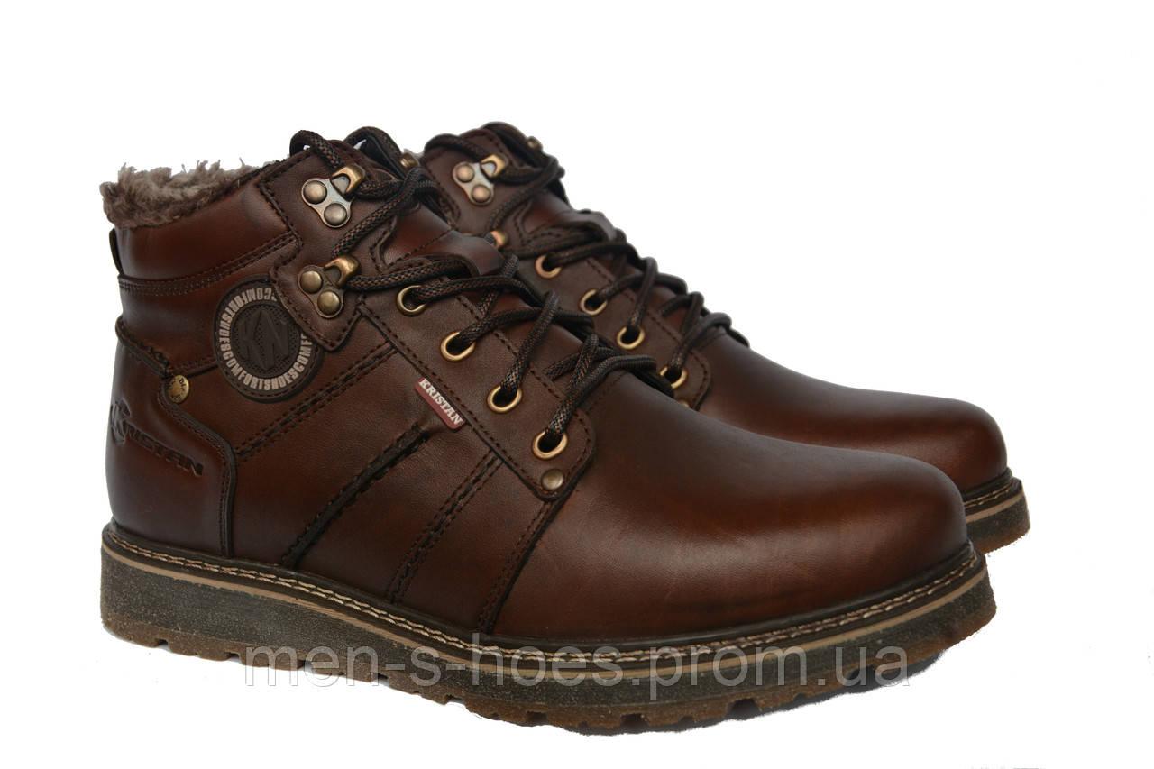 Зимние мужские  кожаные удобные  ботинки Kristan Brown