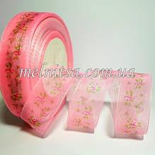 """Стрічка з органзи """"Дрібний квітка"""" 2,5 см, колір рожевий"""