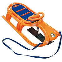 Санки Snow Tiger De Luxe KHW 21605 с рулем оранжевые