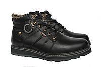 Зимние мужские  кожаные удобные  ботинки Kristan Black, фото 1