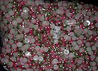 Полубусы Омбре (градиент), 8 мм, около 2000 шт/уп, зеленый и розовый, оптом