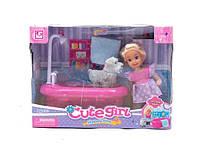 Кукла маленькая K899-16   с питомцем,ванной,полотенечком, в кор.