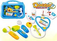 Доктор набір  у пластиковому чемодані.Стетоскоп, термометр, пульсометр на батарейках29х24х8см