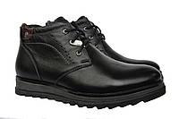 Качественные  мужские зимние кожаные черные  ботинки Vivaro  Black