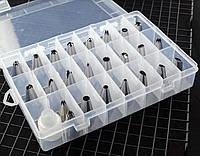 Насадки металлические для кондитерских мешков 24шт + переходник в коробке пластиковой SKU0000848, фото 1