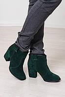 Женские зеленые замшевые ботильоны на каблуке